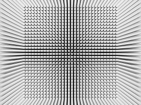 picture of inverted  - Abstract digital background with invert perspective square pattern on white wall 3d illustration - JPG