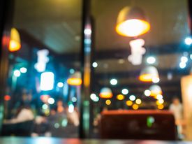 stock photo of cafe  - Blurry cafe - JPG