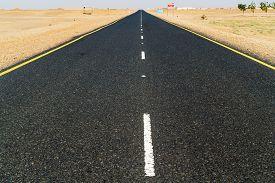 pic of sahara desert  - Desert landscape and the road thru the Sahara desert in Sudan near Dongola in Sudan - JPG