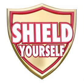 stock photo of hazardous  - Shield Yourself words on armor to protect - JPG