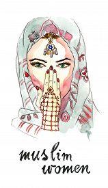 pic of yashmak  - Watercolor hand drawn turkish woman  - JPG