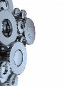 pic of marketing strategy  - many metall cog wheel gear isolated on white 3D - JPG