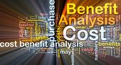 Background concept wordcloud illustration of cost benefit analysis glowing light poster