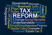 Tax Reform Word Cloud on Blue Background poster