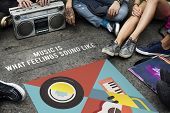 Group of people listening to leisure music activity poster