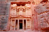 The treasury in world wonder Petra in Jordan