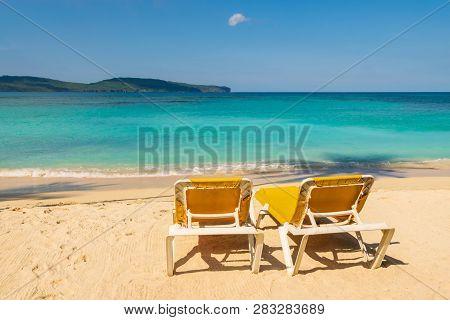 poster of Travel Vacation Tropical Destination. Perfect Tropical Beach Landscape. Travel Vacations Destination