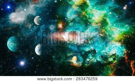 Chaotic Space Background Planets Stars