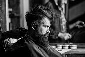 Hand Of Barber With Hair Clipper, Close Up. Hipster Bearded Client Getting Hairstyle. Barbershop Con poster