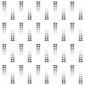 Tribal Faded Away Gray Colors Cut Triangle Arrows Icons Pattern On White Background poster