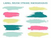 Abstract Label Brush Stroke Backgrounds, Paint Or Ink Smudges Vector For Tags And Stamps Design. Pai poster