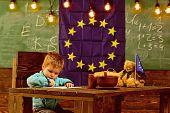 School Break. Little Boy Drawing At Table During School Break. Child Enjoy School Break. School Brea poster