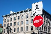 Quebec Stop Sign, Obeying By Bilingual Rules Imposing Use Of French Language On Roadsigns, Translati poster