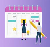 Calendar Or Organizer, Time Management Or Planning Vector. Woman And Man With Pencil, Schedule And B poster