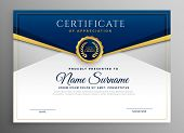 Elegant Blue And Gold Diploma Certificate Template poster
