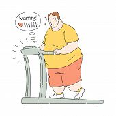 Vector Overweight Obese Man Sweating At Treadmill poster