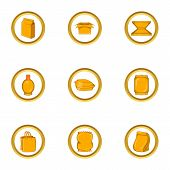 Eco Packing Icon Set. Cartoon Set Of 9 Eco Packing Icons For Web Isolated On White Background poster