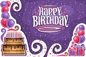 Vector Greeting Card For Happy Birthday With Copy Space, Many Purple And Pink Balloons, Chocolate Bi poster