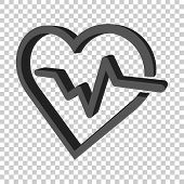 Heartbeat Line With Heart Icon In Flat Style. Heartbeat Illustration On Isolated Transparent Backgro poster