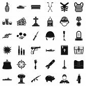 War Offense Icons Set. Simple Style Of 36 War Offense Icons For Web Isolated On White Background poster