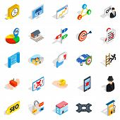 Development Interface Icons Set. Isometric Set Of 25 Development Interface Icons For Web Isolated On poster