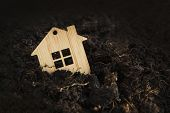 Wooden House Falls Into Ground. Under The Ground Home Mortgage, House For Sale, Real Estate Crisis C poster