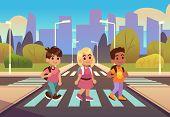 Kids Crosswalk. Road Safety Zebra Traffic Light Warning, Students School Child Pedestrian Sidewalk,  poster