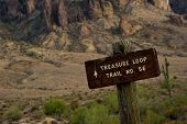 foto of superstition mountains  - Treasure Loop Trail head Superstition Mountains Arizona USA - JPG