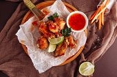 Chicken Barbecue Buffalo Wing Top Down Flatlay poster
