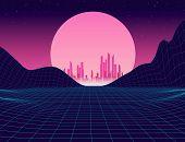 80s Retro Future. Retro Futuristic Background 1980s Style. Retro Background Futuristic Landscape 198 poster