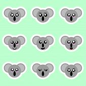Set Of Koala Stickers. Different Emotions, Expressions. Sticker In Anime Style. Vector Illustration  poster