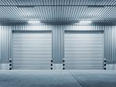 Shutter Door Or Roller Door And Concrete Floor Outside Factory Building For Industrial Background. poster