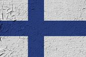 Finland Painted Flag. Patriotic Old Grunge Background. National Flag Of Finland poster