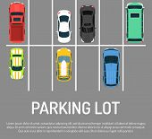 City Car Parking Vector Illustration. Top View Of Parking Zone With A Variety Of Cars. Parking Garag poster