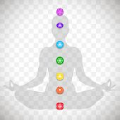 Human Body In Yoga Lotus Asana And Seven Colorful Chakras Symbols Isolated On Transparent Background poster