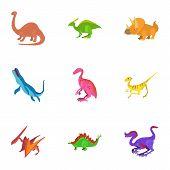 Different Dinosaur Icons Set. Cartoon Set Of 9 Different Dinosaur Icons For Web Isolated On White Ba poster