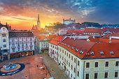 Bratislava. Aerial  Cityscape Image Of Historical Downtown Of Bratislava, Capital City Of Slovakia D poster