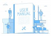 User Manual. People With Guidance Guided Textbook. User Reading Guidebook And Writing Technical Inst poster