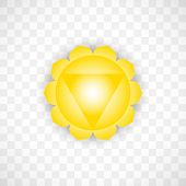 Solar Chakra Manipura In Yellow Color Isolated On Transparent Background. Isoteric Flat Icon. Geomet poster