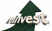 Reinvest Stock Market Ticker Arrow Re-Investment 3d Illustration poster