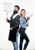 Bearded Hipster And Girl Ready For Barbecue Party. Roasting And Grilling Food. Couple In Love Hold C poster