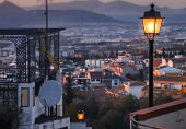 Street Lamps Light The Way ,granada,andalucia,spain.walking Down From The Sacromonte Area,walking Do poster