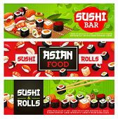 Sushi Bar Menu Banners Of Sushi Rolls, Sashimi And Maki. Vector Japanese Food Sushi With Shrimp, Sal poster