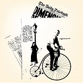 Retro newspapers with man on velocipede