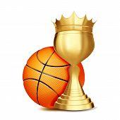 Basketball Award Vector. Basketball Ball, Golden Cup. Banner Advertising. Sport Event Announcement.  poster