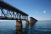 picture of interrupter  - famous old bridge on the ocean from bahia honda to key west in florida with interruption - JPG