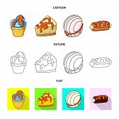 Vector Design Of Confectionery And Culinary Icon. Collection Of Confectionery And Product Stock Symb poster