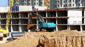 Construction Site Background.cranes , Excavator, Dump Truck, Builders On The Construction Site. poster