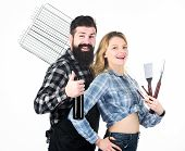 Picnic And Barbecue. Bearded Hipster And Girl Ready For Barbecue Party. Roasting And Grilling Food.  poster