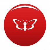 Nice Butterfly Icon. Simple Illustration Of Nice Butterfly Vector Icon For Any Design Red poster